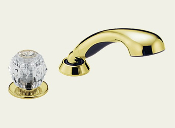 Delta RP14979-PB Classic Deck Mounted Roman Tub Personal Hand Held Shower and Diverter Kit Brillliance Polsihed Brass