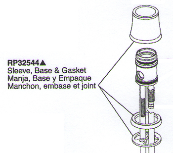 Delta RP32544SS Waterfall Replacement Sleeve, Base and Gasket Brilliance Stainless
