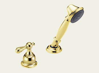 Delta RP33791PBLHP Victorian Roman Tub Hand Held Shower and Diverter Brilliance Polished Brass