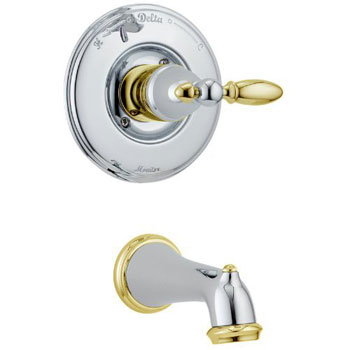 Delta T14155-CBLHP Victorian Bath Collection Single Handle Tub Trim Chrome & Brilliance Polished Brass