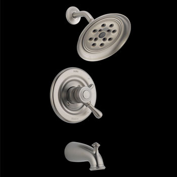 Delta T17478-SSH2O Leland Monitor 17 Series Tub and Shower Trim with H2Okinetic Technology - Stainless Steel