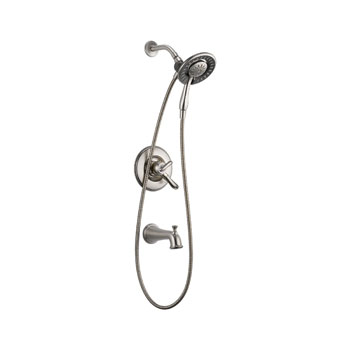 Delta T17494-SS-I Linden Monitor 17 Series Tub and Shower with In2ition Two in One Shower - Stainless Steel