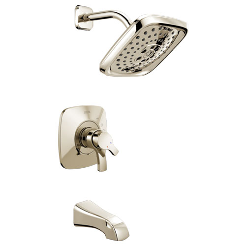 Delta T17T452-PN Tesla TempAssure 17T Series H2Okinetic Tub and Shower Trim - Polished Nickel
