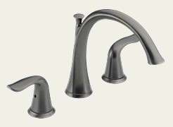 Delta T2738-PT Lahara Two Handle Deck Mount Roman Tub Filler Trim Kit - Aged Pewter