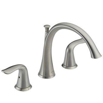 Delta T2738-SS Lahara Two Handle Deck Mount Roman Tub Filler Trim Kit - Brilliance Stainless