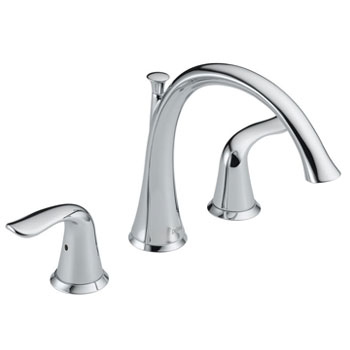 Delta T2738 Lahara Two Handle Deck Mount Roman Tub Filler Trim Kit - Chrome