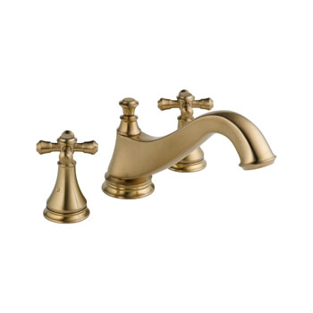 Delta T2795-CZLHP Cassidy Two Handle Roman Tub Faucet Trim with Low Arc Spout - Champagne Bronze