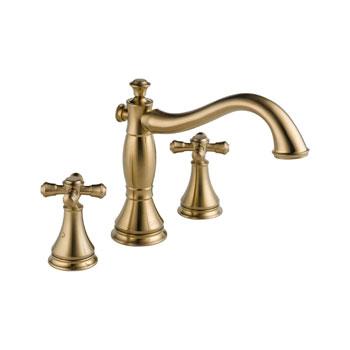 Delta T2797-CZLHP Cassidy 3 Hole Roman Tub Trim, Less Handles - Champagne Bronze
