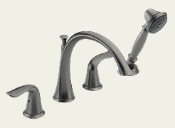Delta T4738-PT Lahara Two Handle Deck Mount Roman Tub Filler with Personal Handshower Trim Kit - Aged Pewter