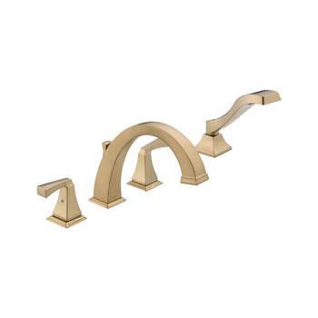 Delta T4751-CZ Dryden Two Handle Roman Tub Faucet Trim with Handshower - Champagne Bronze
