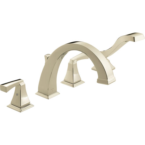 Delta T4751-PN Dryden Two Handle Roman Tub Faucet Trim with Handshower - Polished Nickel