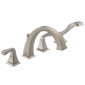 Delta T4751-SS Dryden Two-Handle Roman Tub Faucet Trim with Handshower Brilliance Stainless