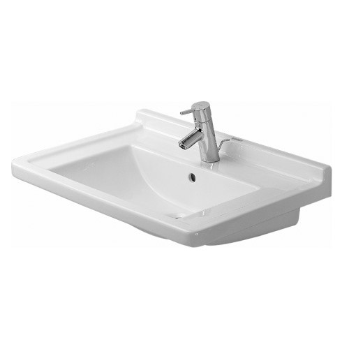 Duravit 0304700000 Starck 3 Washbasin with One Hole Drilled and Overflow - White