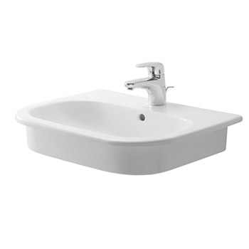 Duravit 0337540030 D-Code 3-Hole Vanity Basin - White (One-hole pictured)