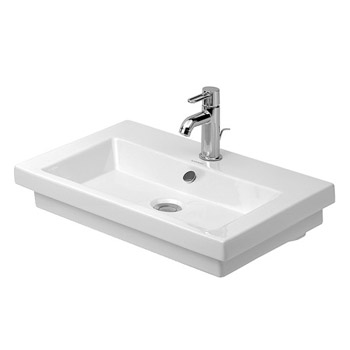 Duravit 04916000001 2nd Floor Washbasin Ground with 1 Tap Hole, Overflow - White/WonderGliss