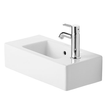 Duravit 07035000001 Vero 19-5/8 in Wall Mounted Handrinse Basin with Two Pre-Punched Holes - White/WonderGliss