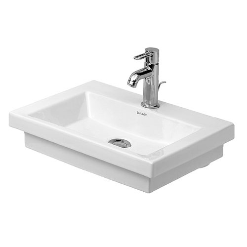 Duravit 07905000001 2nd Floor 19-3/4 in Handrinse Basin with Single Faucet Hole - White/WonderGliss