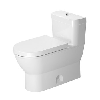 Duravit 2123010005 Darling New One Piece Toilet with Single Flush Piston Valve, Top Trip Lever, Less Seat - White