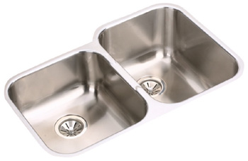 Elkay EGUH312010L Gourmet Undermount Double Bowl Kitchen Sink Stainless Steel