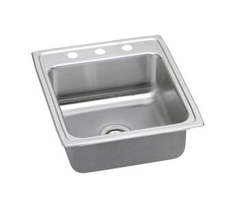 ELKAY LRQ20223 Lustertone Gourmet Single Basin Top Mount Kitchen Sink - Stainless Steel