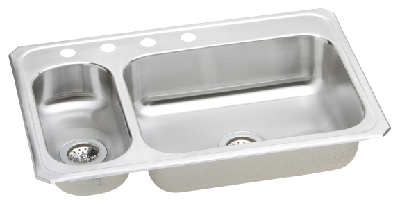 Elkay CMR3322-4 Gourmet Double Bowl Kitchen Sink - Stainless Steel (Small Bowl on Left)