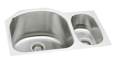 Elkay ELUH272010R Harmony Deep Double Bowl Kitchen Sink - Stainless Steel (Small Bowl on the Right)
