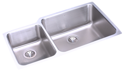 Elkay ELUH3520L Gourmet Double Bowl Kitchen Sink - Stainless Steel (Small Bowl on Left)