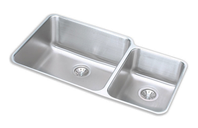 Elkay ELUH3520R Gourmet Double Bowl Kitchen Sink - Stainless Steel (Small Bowl on Right)