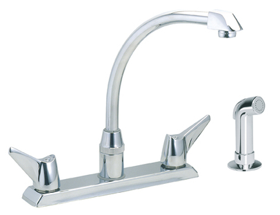 Elkay Lkd2443 Two Handle Kitchen Faucet W Side Spray Chrome