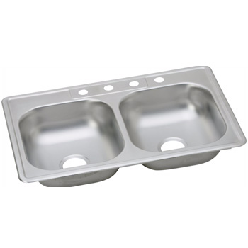 Elkay KJ23322-4H Kingsford Double Bowl Top Mount Sink - Stainless Steel