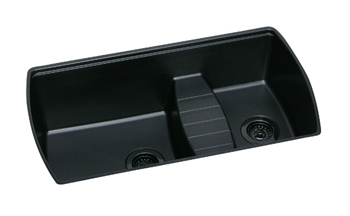 Elkay ELQTULB342210BK0 Harmony Quartech Double Bowl Undermount Kitchen Sink - Black