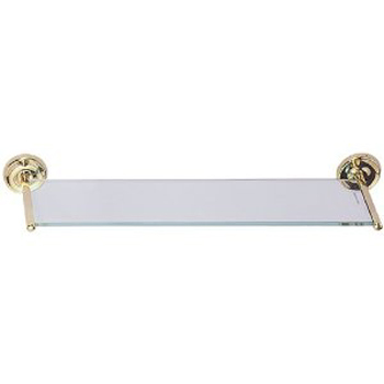 Elizabethan Classics ECGSPB Glass Vanity Shelf - Polished Brass