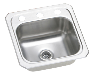 Elkay BCR152 Gourmet (Celebrity) Hospitality Single Bowl Stainless Steel Sink (Pictured With Three Faucet Holes)