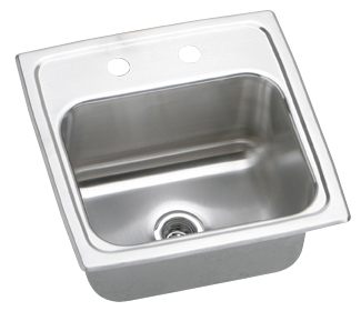 Elkay BLR153 Lustertone Hospitality Single Bowl Stainless Steel Sink (Pictured With Two Faucet Holes)