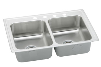 Elkay BPSR23173 Gourmet (Pacemaker) Hospitality Double Bowl Stainless Steel Sink - 3 Holes (Pictured With Four Faucet Holes)