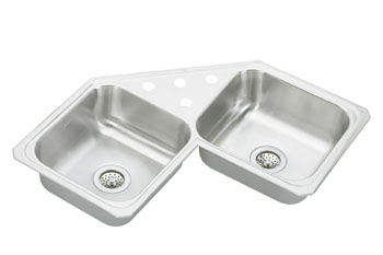 Elkay CCR-3232-3 Gourmet (Celebrity) Double Bowl Stainless Steel Corner Sink - 3 Holes (Pictured With Four Faucet Holes)