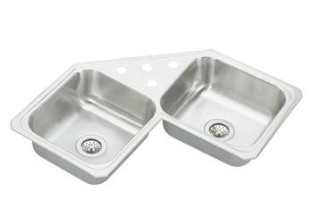 Superbe Elkay CCR 3232 3 Gourmet (Celebrity) Double Bowl Stainless Steel Corner Sink