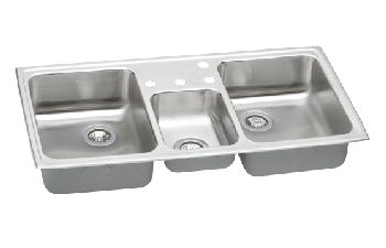 Elkay CMR4322-4 Gourmet (Celebrity) Triple Bowl Kitchen Sink w/Small Center Bowl - Stainless Steel
