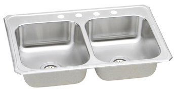 Elkay CR-3322-4 Gourmet (Celebrity) Double Bowl Stainless Steel Sink - 4 Holes