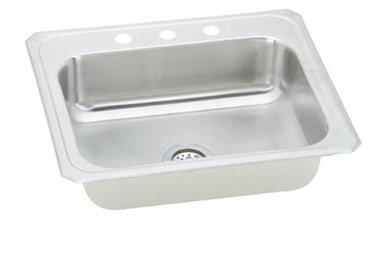 Elkay CR2521-3 Celebrity Single Bowl Stainless Steel Sink