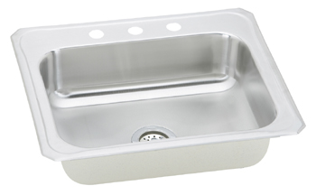 Elkay CR25223 Gourmet (Celebrity) Single Bowl Stainless Steel Sink - 3 Hole
