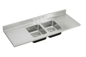 Elkay D7234-4 Gourmet Lustertone Self-Rim Double Bowl-Double Drainboard Kitchen Sink Stainless Steel - 4 Holes