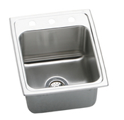 Elkay DLR1722102 Gourmet (Lustertone) Deep Single Bowl Stainless Steel Sink - 2 Holes (Pictured w/3 Holes)