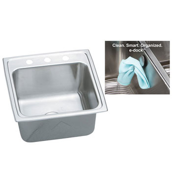 Elkay DLR191910EK3 Gourmet (Lustertone) Stainless Steel Single Bowl Top Mount Sink with eDock Hook - 3 Holes