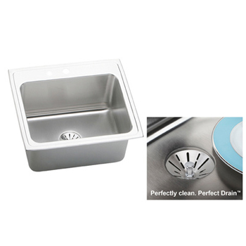 Elkay DLR252210PD2 Gourmet 2 Hole Single Bowl Kitchen Sink with Perfect Drain - Stainless Steel