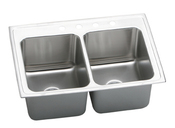 Elkay DLR332212-4 Lustertone Self-Rim Double Bowl Kitchen Sink  Stainless Steel - 4 Holes