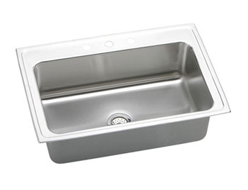 Elkay DLRS332210-4 Gourmet Single Bowl Top Mount Kitchen Sink - Stainless Steel