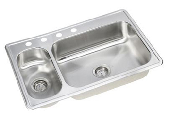 Elkay dsemr23322 l dayton kitchen sink with 4 holes for Colored stainless steel sinks