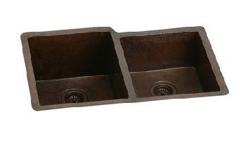 Elkay ECU3120RACH Avado Undermount Double Bowl Kitchen Sink - Antique Hammered Copper Finish