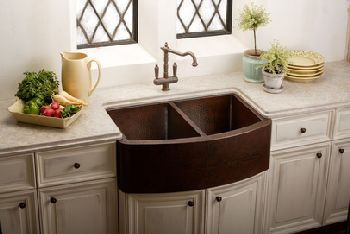 Elkay ECUF3319ACH Harmony Undermount Double Bowl Apron Sink - Antique Hammered Copper Finish (Pictured with Faucet - Not Included)